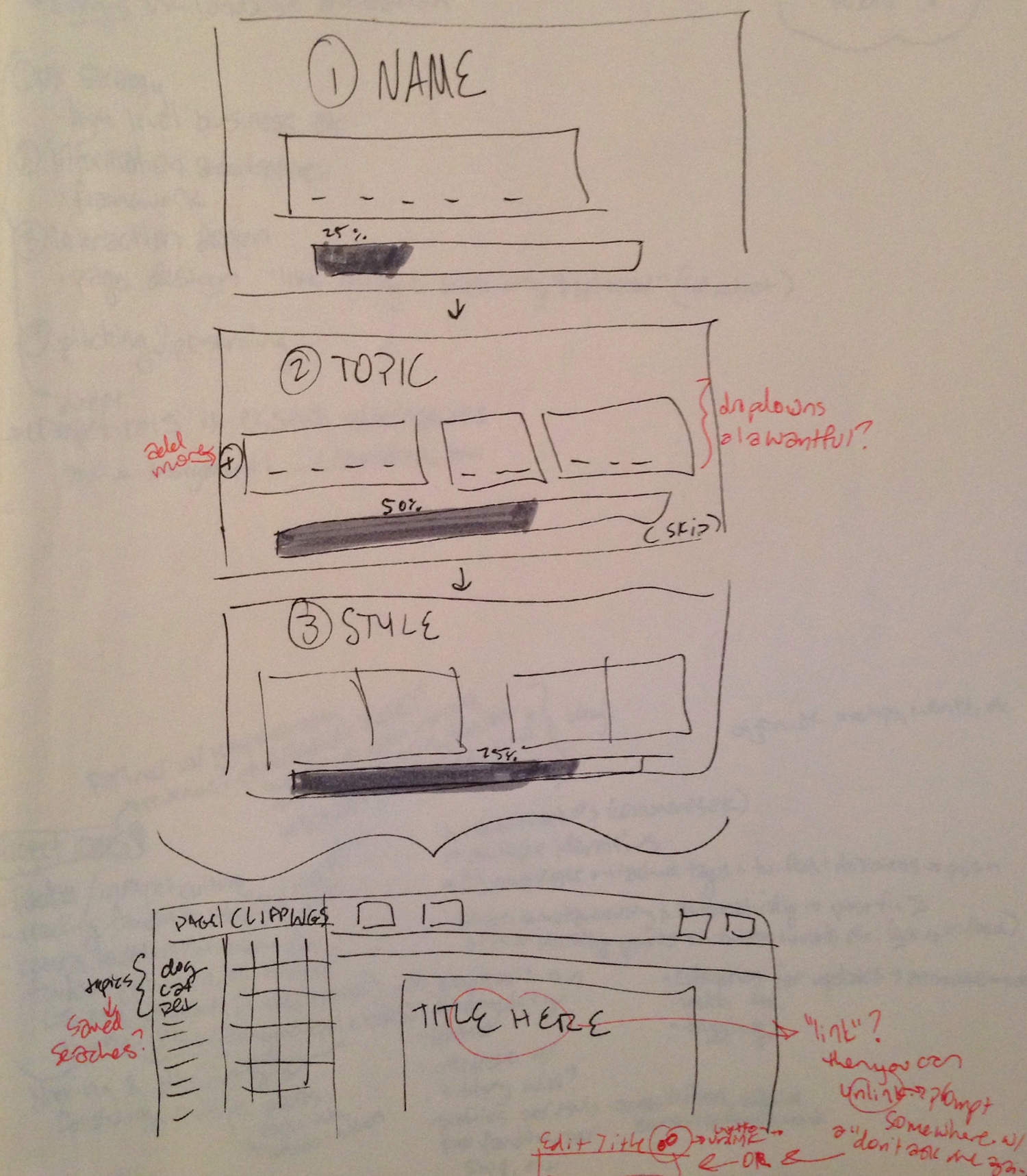 V1 sketch of a step-by-step onboarding flow