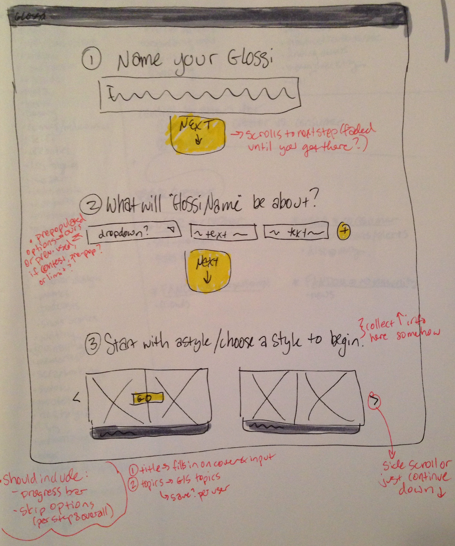 V2 sketch of the onboarding flow