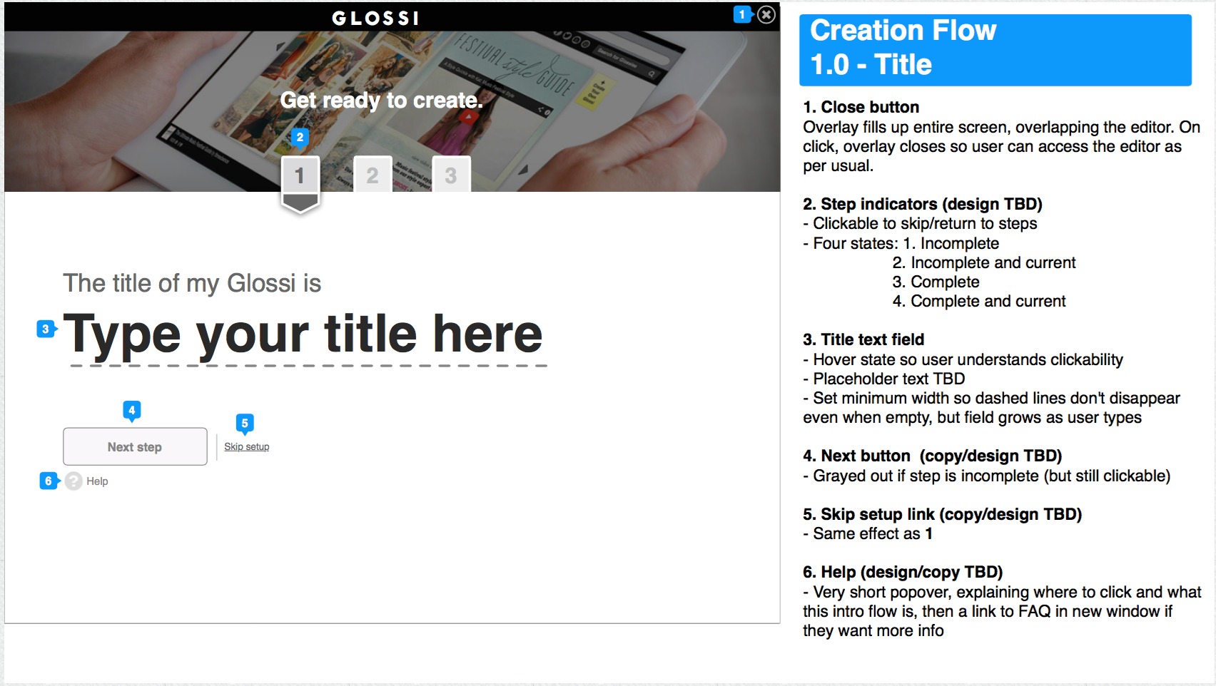 Wireframe for step 1 of the flow: entering your title