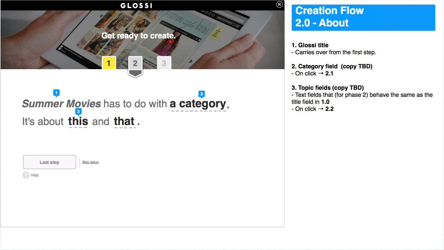 Wireframe for step 2: selecting a category