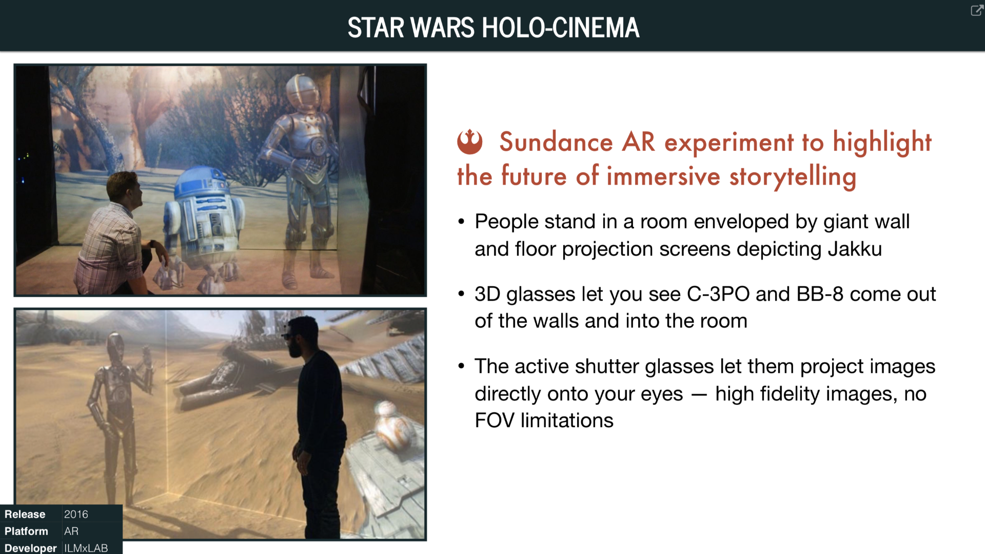 Overview of Star Wars Holo-Cinema (2016)