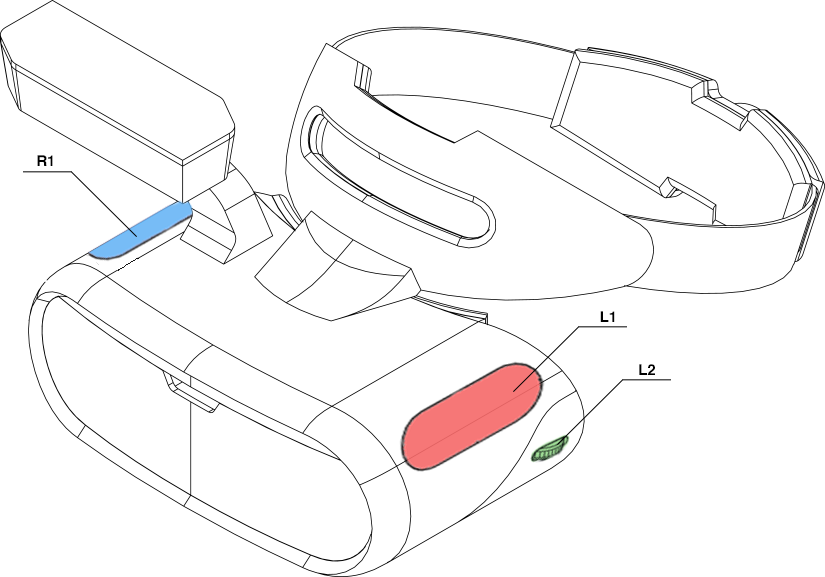 Proposed headset, showing left side